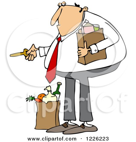Clipart of a Caucasian Man with Groceries, Unlocking a Door - Royalty Free Vector Illustration by djart