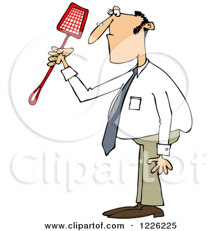 Clipart of a Caucasian Businessman Holding a Noose Fly Swatter - Royalty Free Vector Illustration by djart