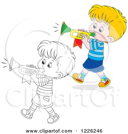 Clipart Of An Outlined And Colored Marching Boy Playing A Trumpet