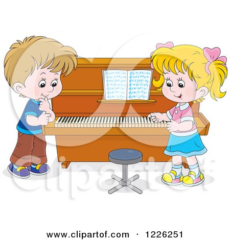 Clipart of a Caucasian Boy and Girl at a Piano - Royalty Free Vector Illustration by Alex Bannykh