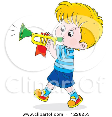 Clipart of a Caucasian Marching Boy Playing a Trumpet - Royalty Free Vector Illustration by Alex Bannykh