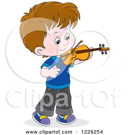 Clipart of a Caucasian Boy Violinist - Royalty Free Vector Illustration by Alex Bannykh