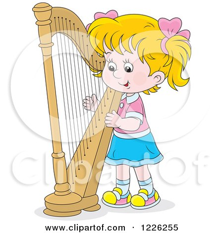 Clipart of a Caucasian Girl Playing a Harp - Royalty Free Vector Illustration by Alex Bannykh