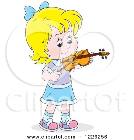 Clipart of a Caucasian Girl Violinist - Royalty Free Vector Illustration by Alex Bannykh