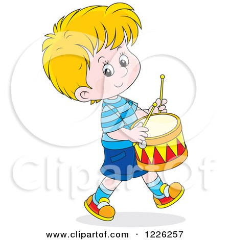 Clipart of a Caucasian Boy Drummer - Royalty Free Vector Illustration by Alex Bannykh