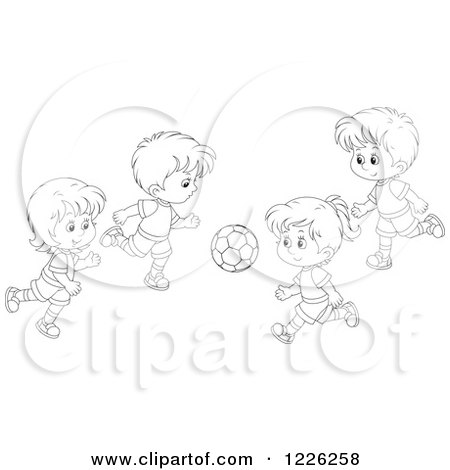 Clipart of Outlined Boys and Girls Playing Soccer - Royalty Free Vector Illustration by Alex Bannykh