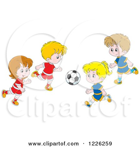 Clipart of Caucasian Boys and Girls Playing Soccer - Royalty Free Vector Illustration by Alex Bannykh