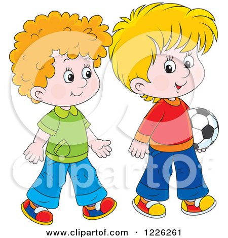 Clipart of Caucasian Boys Walking with a Soccer Ball - Royalty Free Vector Illustration by Alex Bannykh