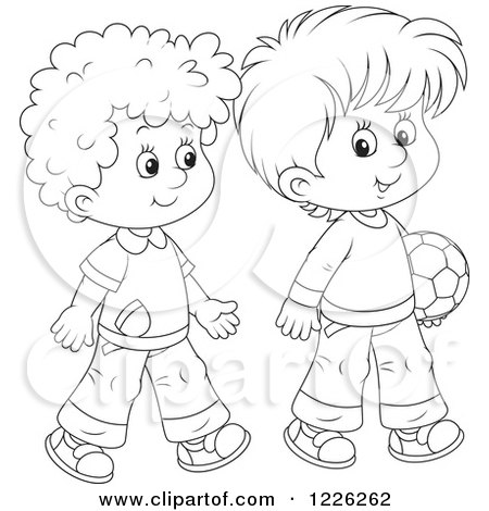 Clipart of Outlined Boys Walking with a Soccer Ball - Royalty Free Vector Illustration by Alex Bannykh
