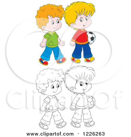 Clipart of Outlined and Colored Boys Walking with a Soccer Ball - Royalty Free Vector Illustration by Alex Bannykh