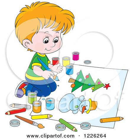 Clipart of a Caucasian Boy Painting a Snowman and Christmas Tree - Royalty Free Vector Illustration by Alex Bannykh
