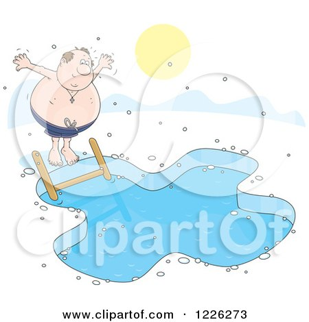 Clipart of a Chubby Man Jumping into an Ice Swimming Pool - Royalty Free Vector Illustration by Alex Bannykh