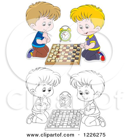Clipart of Outlined and Colored Boys Playing Chess - Royalty Free Vector Illustration by Alex Bannykh