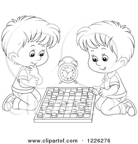 Clipart of Outlined Boys Playing Chess - Royalty Free Vector Illustration by Alex Bannykh