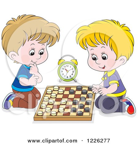 Clipart of Caucasian Boys Playing Chess - Royalty Free Vector Illustration by Alex Bannykh