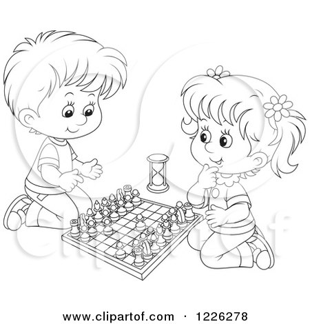 Clipart of an Outlined Happy Boy and Girl Playing Chess - Royalty Free Vector Illustration by Alex Bannykh