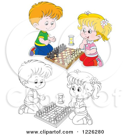 Clipart of an Outlined and Colored Happy Boy and Girl Playing Chess - Royalty Free Vector Illustration by Alex Bannykh