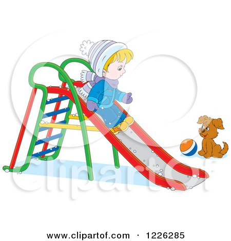 Clipart of a Puppy Watching a Caucasian Boy Go down a Slide in the Snow - Royalty Free Vector Illustration by Alex Bannykh