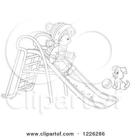 Clipart of an Outlined Puppy Watching a Boy Go down a Slide in the Snow - Royalty Free Vector Illustration by Alex Bannykh