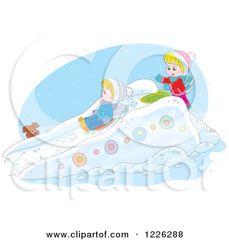 Clipart of a Puppy Watching Caucasian Children Play on a Sled Snow Slide - Royalty Free Vector Illustration by Alex Bannykh