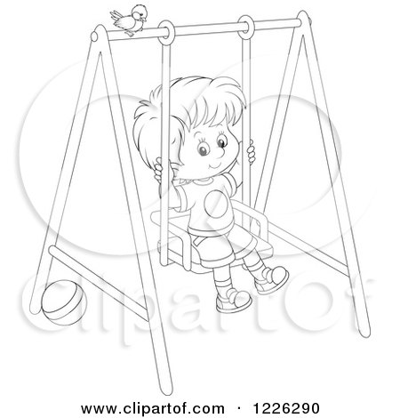 Clipart of an Outlined Boy Swinging on a Playground - Royalty Free Vector Illustration by Alex Bannykh