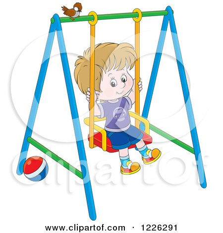 Clipart of a Caucasian Boy Swinging on a Playground - Royalty Free Vector Illustration by Alex Bannykh