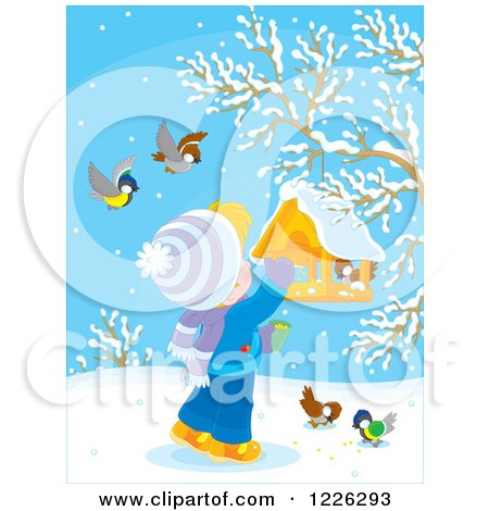 Clipart of a Blond Boy Feeding Birds at a Suspended Feeder - Royalty Free Vector Illustration by Alex Bannykh