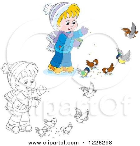 Outlined And Colored Boy Feeding Birds