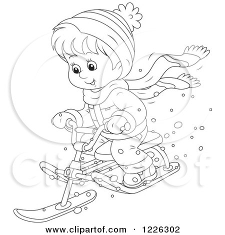 Clipart of an Outlined Happy Boy Riding a Snow Sled Bike - Royalty Free Vector Illustration by Alex Bannykh