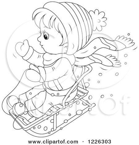 Clipart of an Outlined Boy Pulling