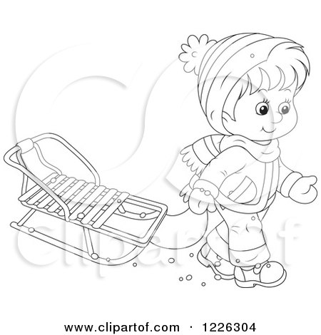 Clipart of an Outlined Boy Pulling a Sled - Royalty Free Vector Illustration by Alex Bannykh