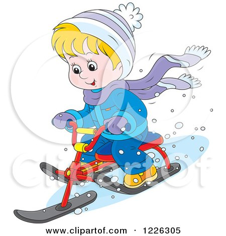 Clipart of a Happy Boy Riding a Snow Sled Bike - Royalty Free Vector Illustration by Alex Bannykh
