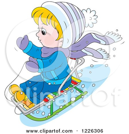 Clipart of a Caucasian Boy on a Snow Sled - Royalty Free Vector Illustration by Alex Bannykh