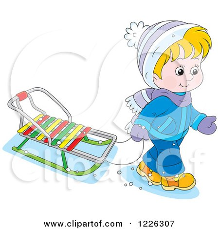 Clipart of a Caucasian Boy Pulling a Sled - Royalty Free Vector Illustration by Alex Bannykh