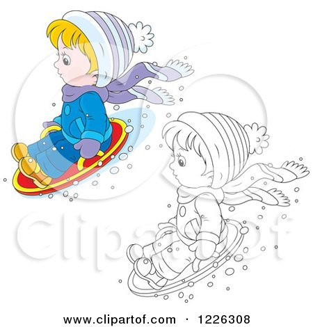 Clipart of an Outlined and Colored Boy on a Modern Sled - Royalty Free Vector Illustration by Alex Bannykh