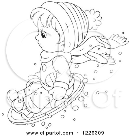 Clipart of an Outlined Boy on a Modern Sled - Royalty Free Vector Illustration by Alex Bannykh