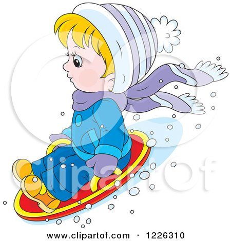 Clipart of a Caucasian Boy on a Modern Sled - Royalty Free Vector Illustration by Alex Bannykh