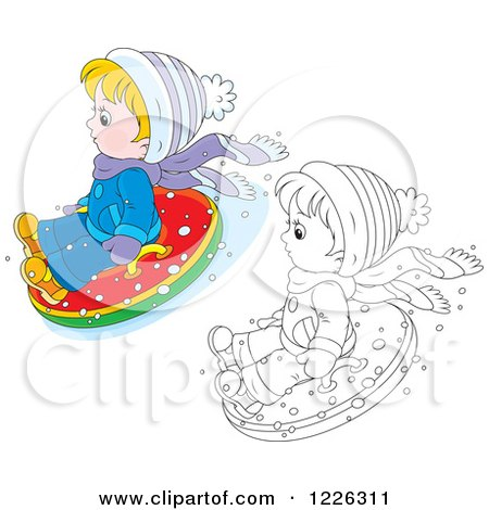 Clipart of an Outlined and Colored Boy Snow Tubing - Royalty Free Vector Illustration by Alex Bannykh