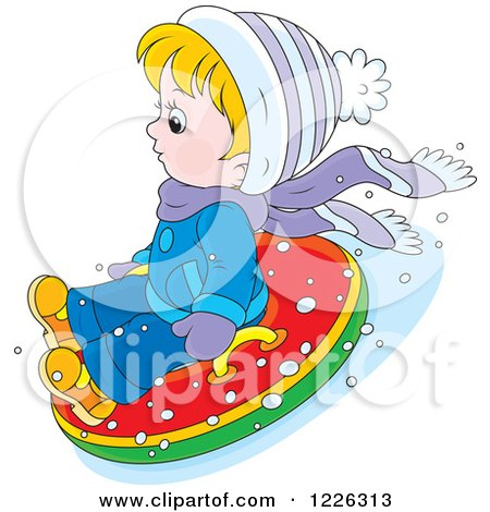 Clipart of a Caucasian Boy Snow Tubing - Royalty Free Vector Illustration by Alex Bannykh