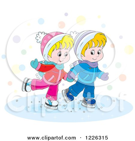 Clipart of a Caucasian Boy and Girl Holding Hands and Ice Skating - Royalty Free Vector Illustration by Alex Bannykh