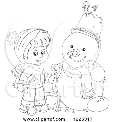 Clipart of an Outlined Boy by a Snowman - Royalty Free Vector Illustration by Alex Bannykh