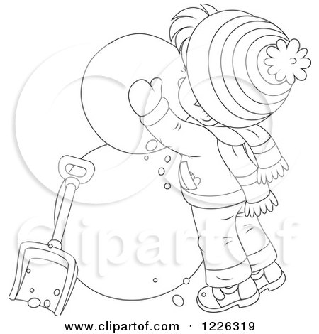 Clipart of an Outlined Boy Making a Snowman - Royalty Free Vector Illustration by Alex Bannykh
