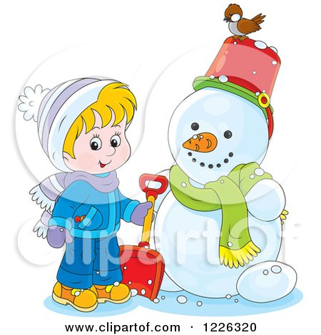 Clipart of a Cacasian Boy by a Snowman - Royalty Free Vector Illustration by Alex Bannykh