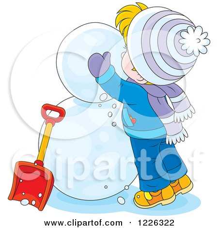 Clipart of a Caucasian Boy Making a Snowman - Royalty Free Vector Illustration by Alex Bannykh