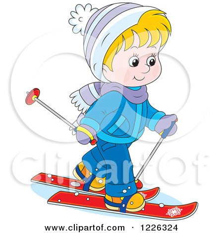 Clipart of a Caucasian Boy Skiing - Royalty Free Vector Illustration by Alex Bannykh