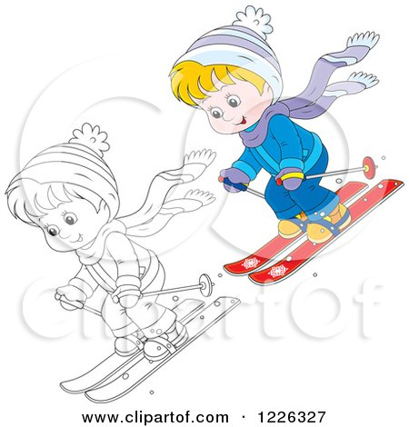 Clipart of an Outlined and Colored Boy Skiing - Royalty Free Vector Illustration by Alex Bannykh