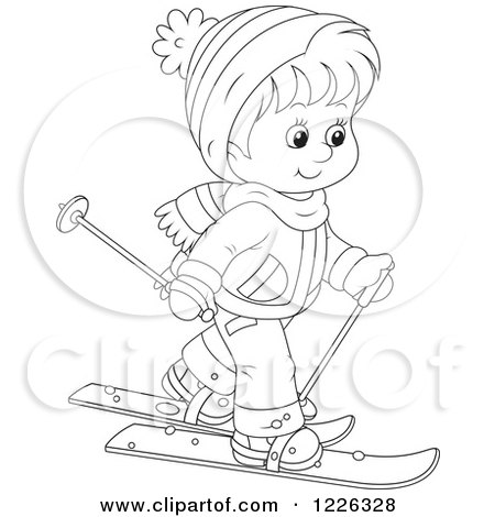 Clipart of an Outlined Boy Skiing - Royalty Free Vector Illustration by Alex Bannykh