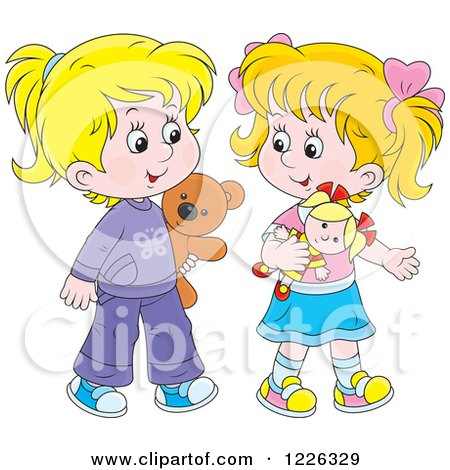 Clipart of Happy Caucasian Girls Playing with a Doll and Teddy Bear - Royalty Free Vector Illustration by Alex Bannykh