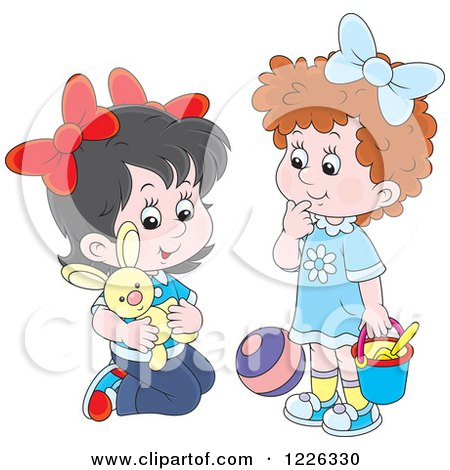 Clipart of Caucasian Girls Playing with a Stuffed Rabbit Ball and Bucket - Royalty Free Vector Illustration by Alex Bannykh