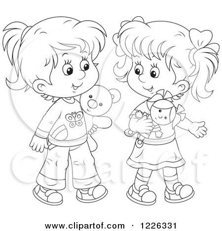 Clipart of Outlined Girls Playing with a Doll and Teddy Bear - Royalty Free Vector Illustration by Alex Bannykh